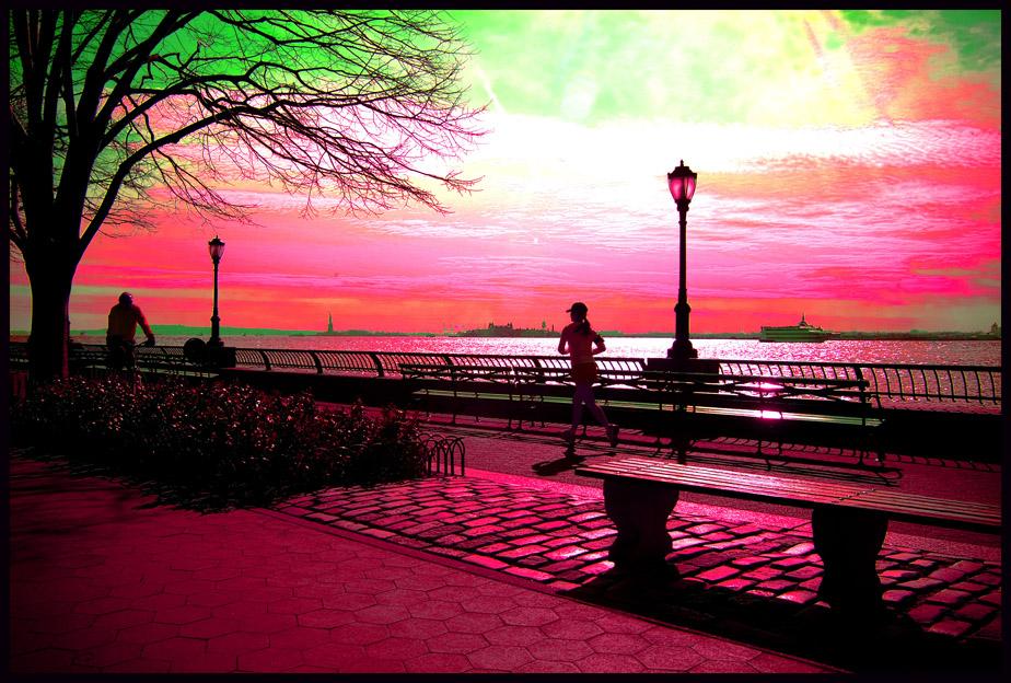 Löprund längst Hudson river
